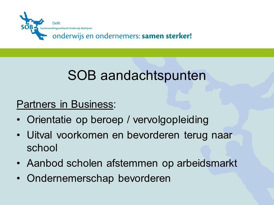 SOB aandachtspunten Partners in Business:
