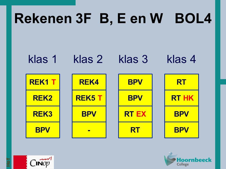 Rekenen 3F B, E en W BOL4 klas 1 klas 2 klas 3 klas 4 REK1 T REK4 BPV