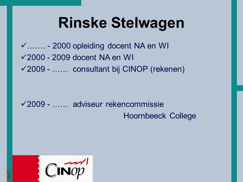 Rinske Stelwagen ……. - 2000 opleiding docent NA en WI