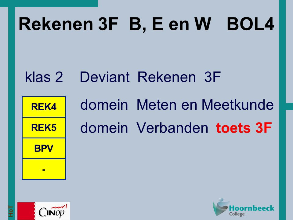 Rekenen 3F B, E en W BOL4 klas 2 Deviant Rekenen 3F