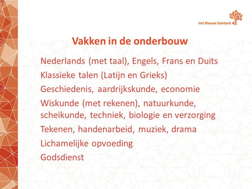Vakken in de onderbouw Nederlands (met taal), Engels, Frans en Duits