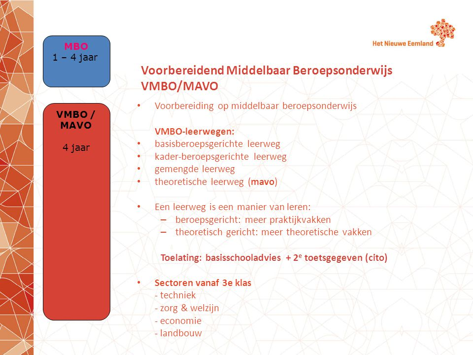 Voorbereidend Middelbaar Beroepsonderwijs VMBO/MAVO