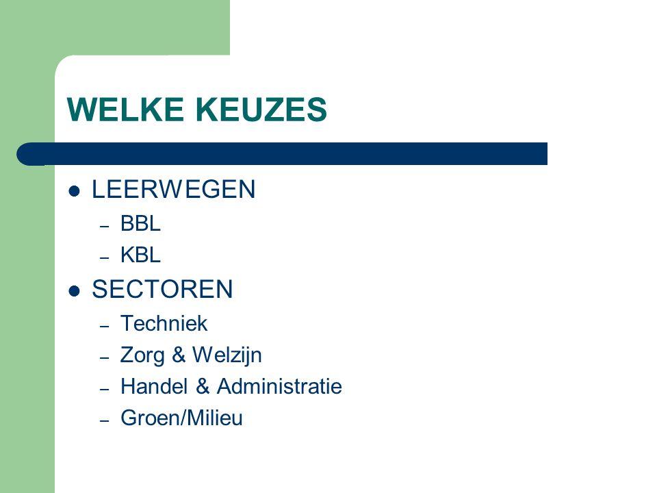 WELKE KEUZES LEERWEGEN SECTOREN BBL KBL Techniek Zorg & Welzijn