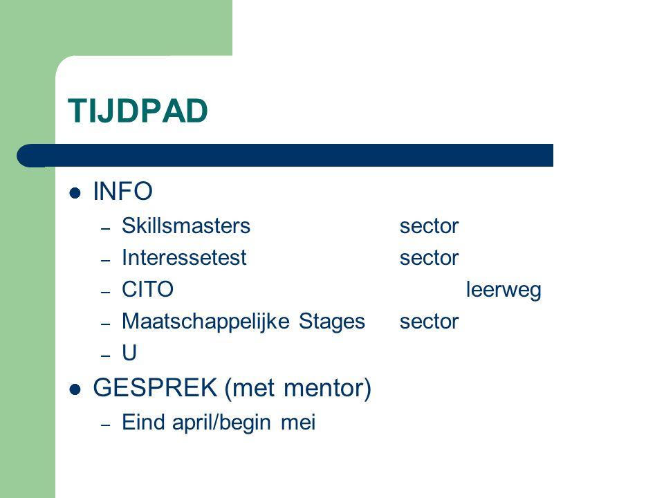 TIJDPAD INFO GESPREK (met mentor) Skillsmasters sector