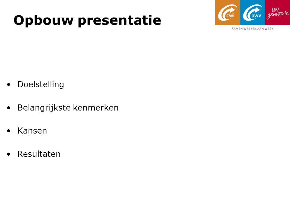 Opbouw presentatie Doelstelling Belangrijkste kenmerken Kansen