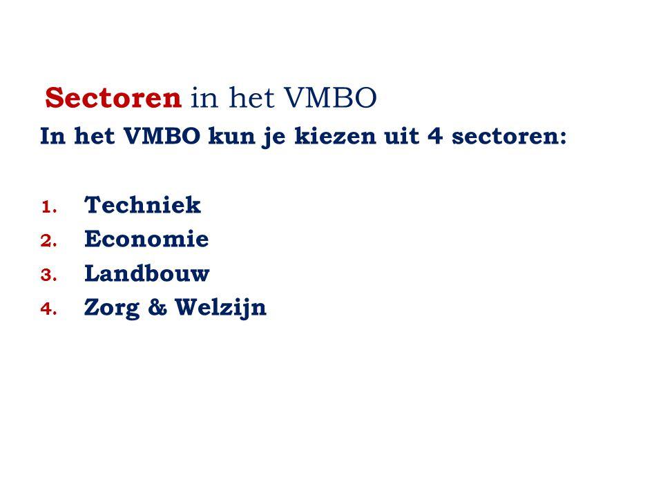 Sectoren in het VMBO In het VMBO kun je kiezen uit 4 sectoren: