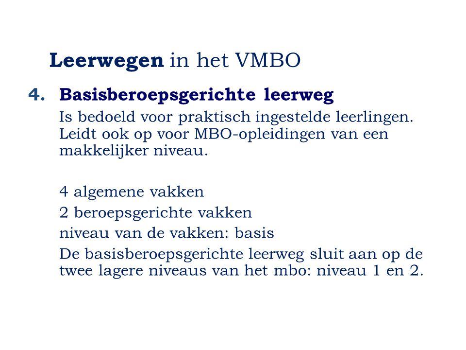 Leerwegen in het VMBO 4. Basisberoepsgerichte leerweg