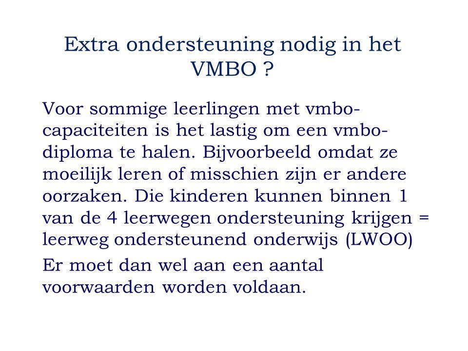 Extra ondersteuning nodig in het VMBO