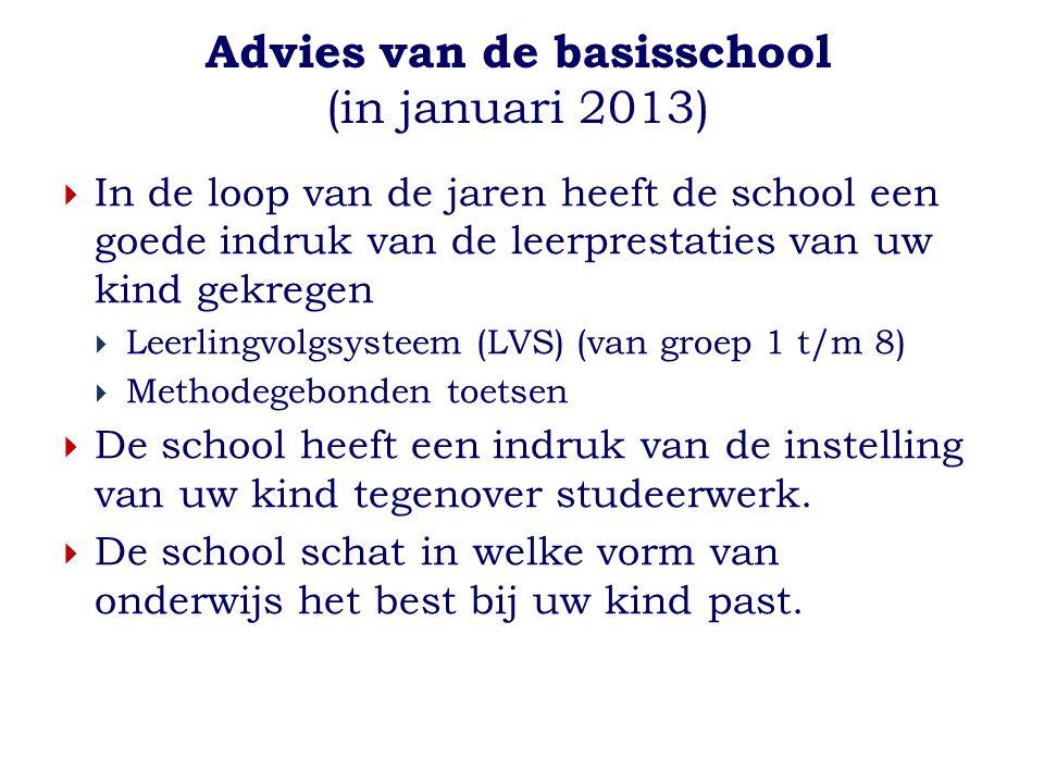 Advies van de basisschool (in januari 2013)