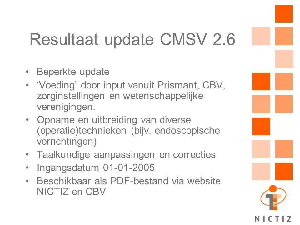 Resultaat update CMSV 2.6 Beperkte update