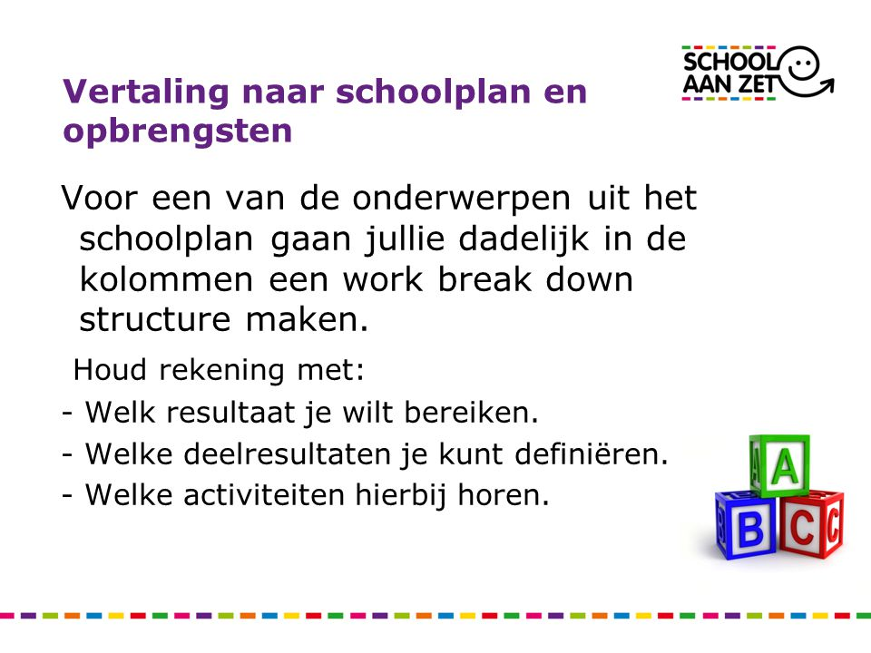 Vertaling naar schoolplan en opbrengsten