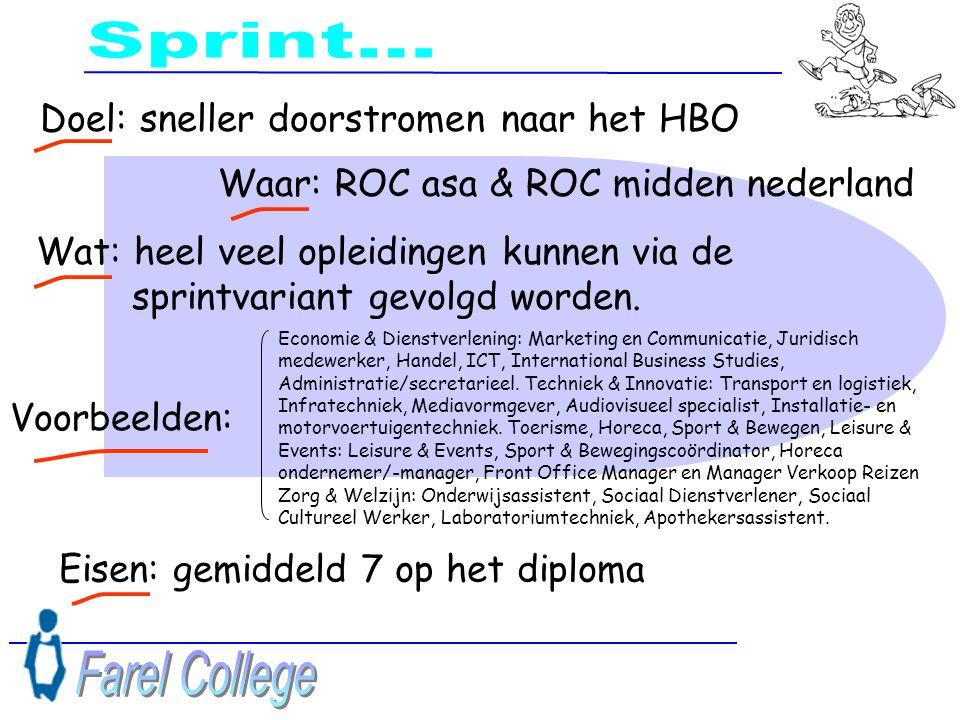 Sprint... Farel College Doel: sneller doorstromen naar het HBO