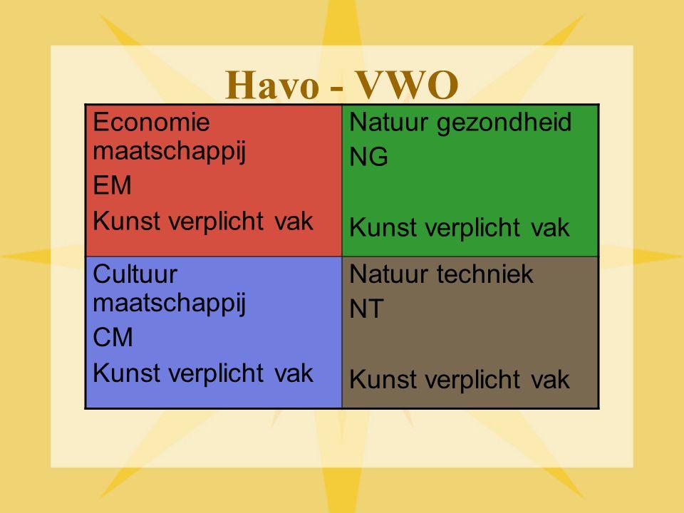Havo - VWO Economie maatschappij EM Kunst verplicht vak