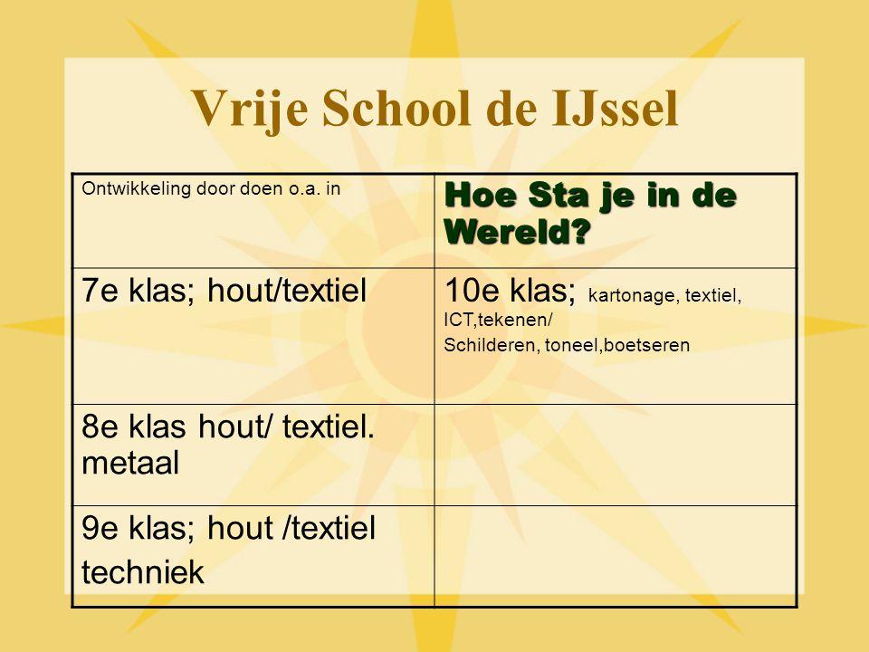 Vrije School de IJssel Hoe Sta je in de Wereld 7e klas; hout/textiel