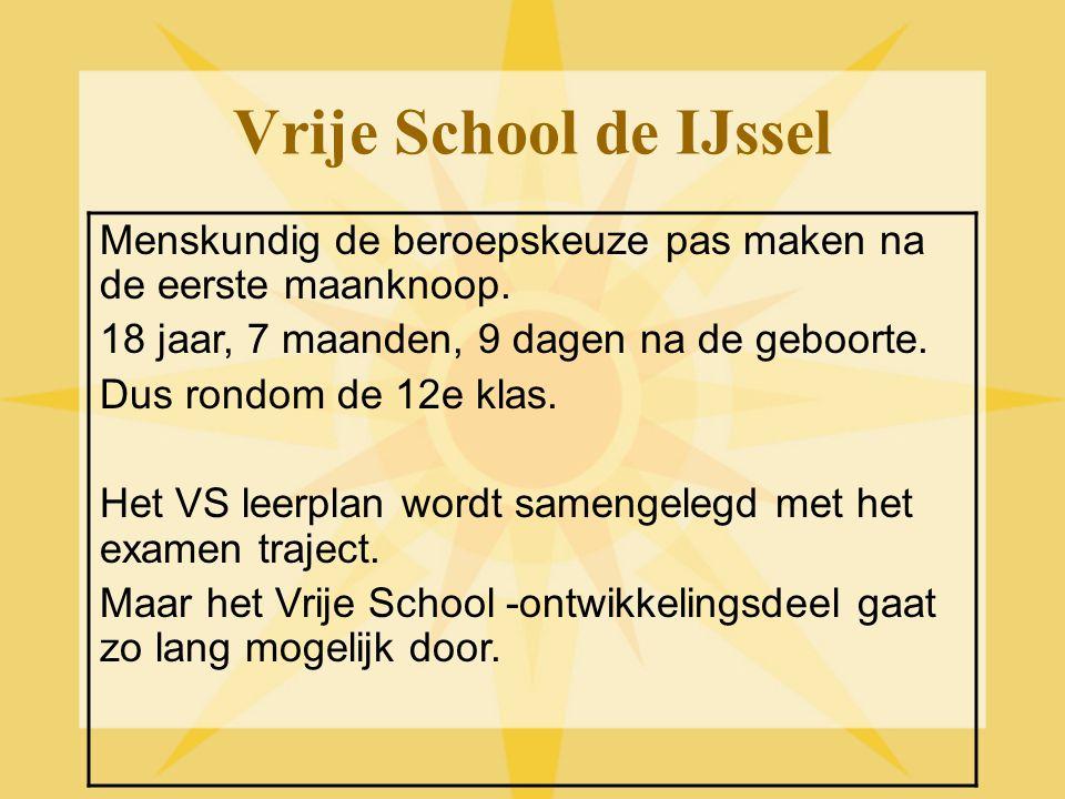 Vrije School de IJssel Menskundig de beroepskeuze pas maken na de eerste maanknoop. 18 jaar, 7 maanden, 9 dagen na de geboorte.