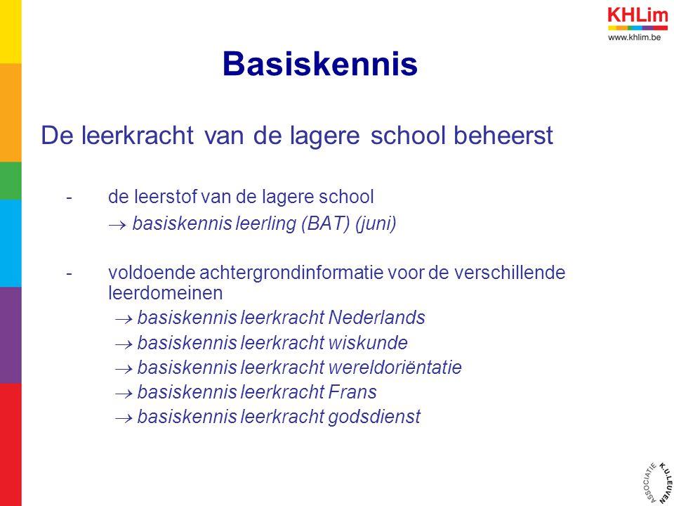 Basiskennis De leerkracht van de lagere school beheerst