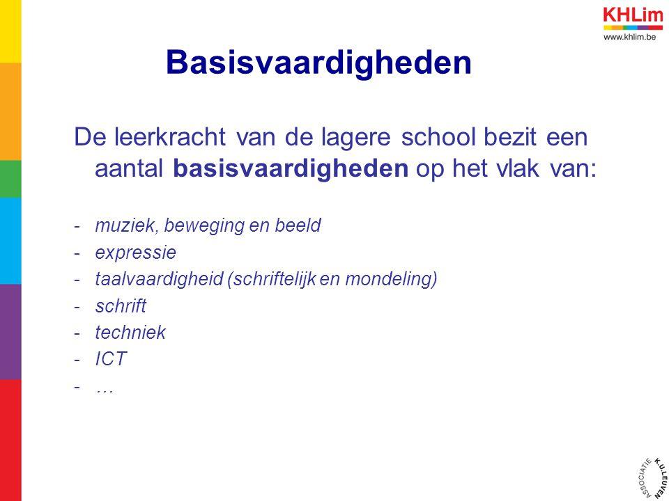 Basisvaardigheden De leerkracht van de lagere school bezit een aantal basisvaardigheden op het vlak van: