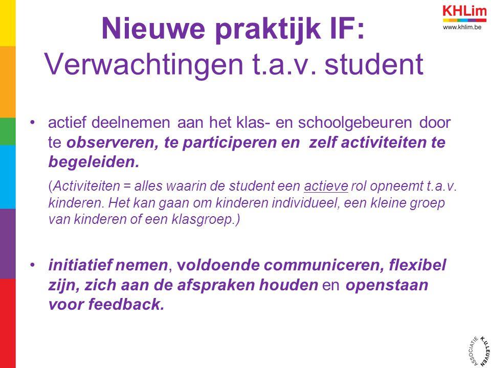 Nieuwe praktijk IF: Verwachtingen t.a.v. student