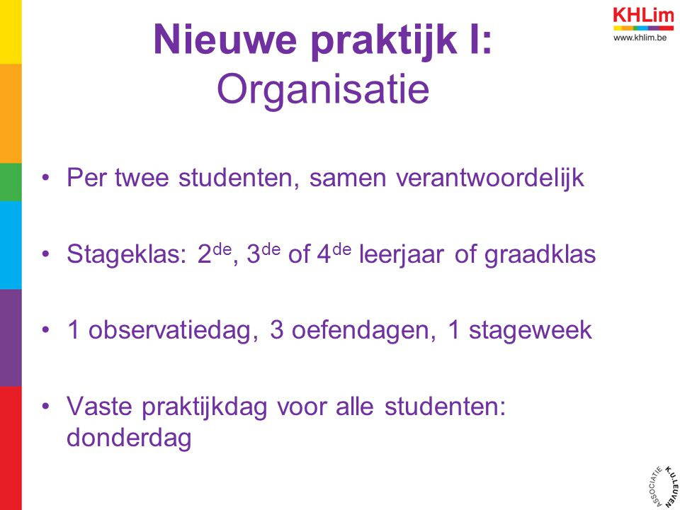Nieuwe praktijk I: Organisatie