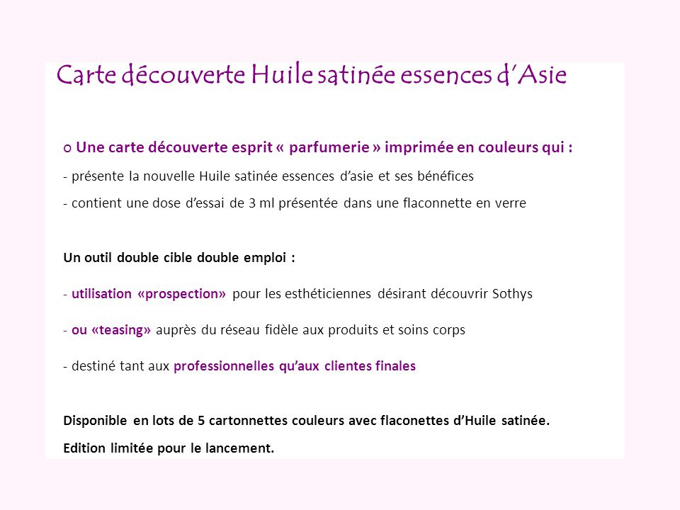 Carte découverte Huile satinée essences d'Asie