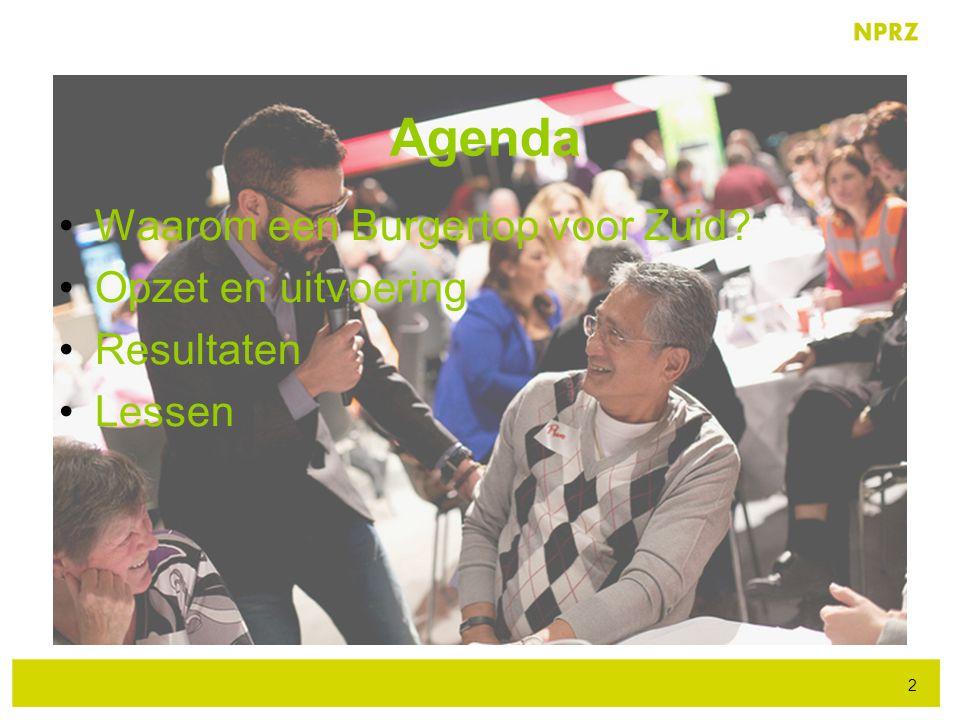 Agenda Waarom een Burgertop voor Zuid Opzet en uitvoering Resultaten