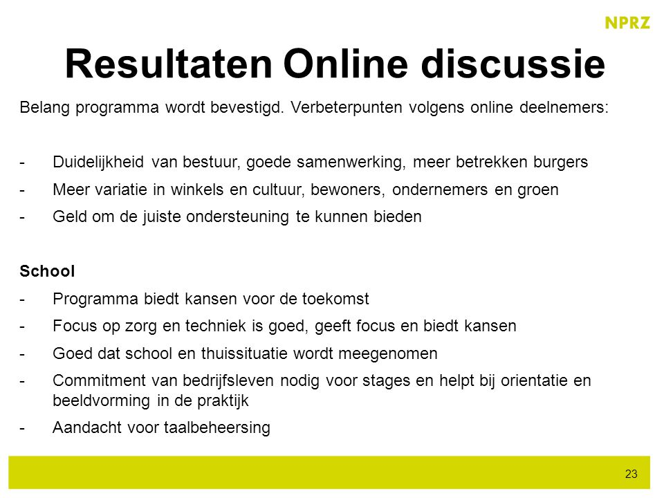 Resultaten Online discussie