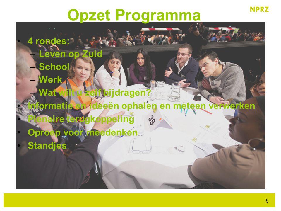 Opzet Programma 4 rondes: Leven op Zuid School Werk