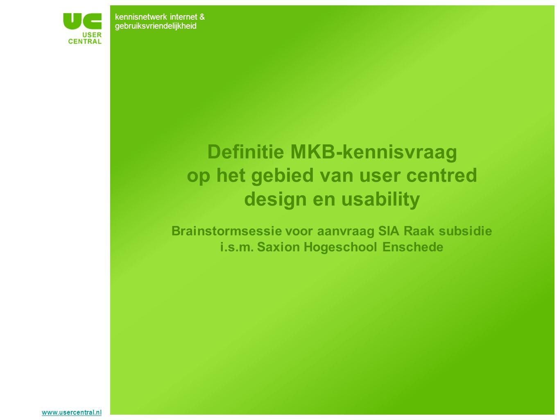 Definitie MKB-kennisvraag op het gebied van user centred design en usability