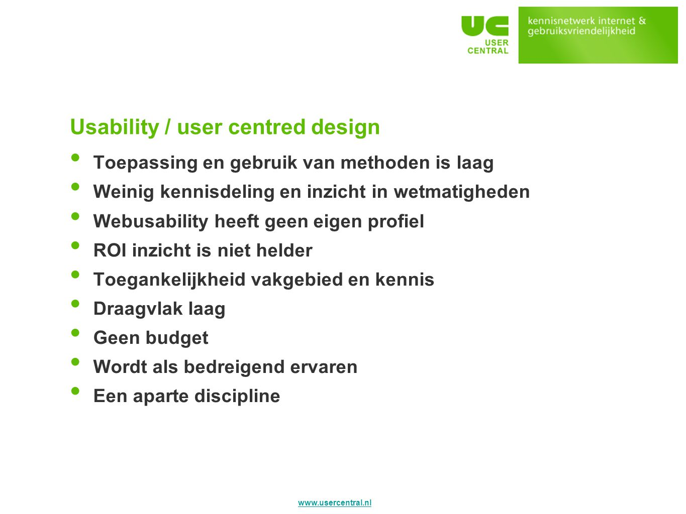 Usability / user centred design