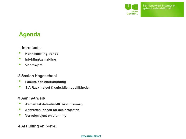 Agenda 1 Introductie 2 Saxion Hogeschool 3 Aan het werk