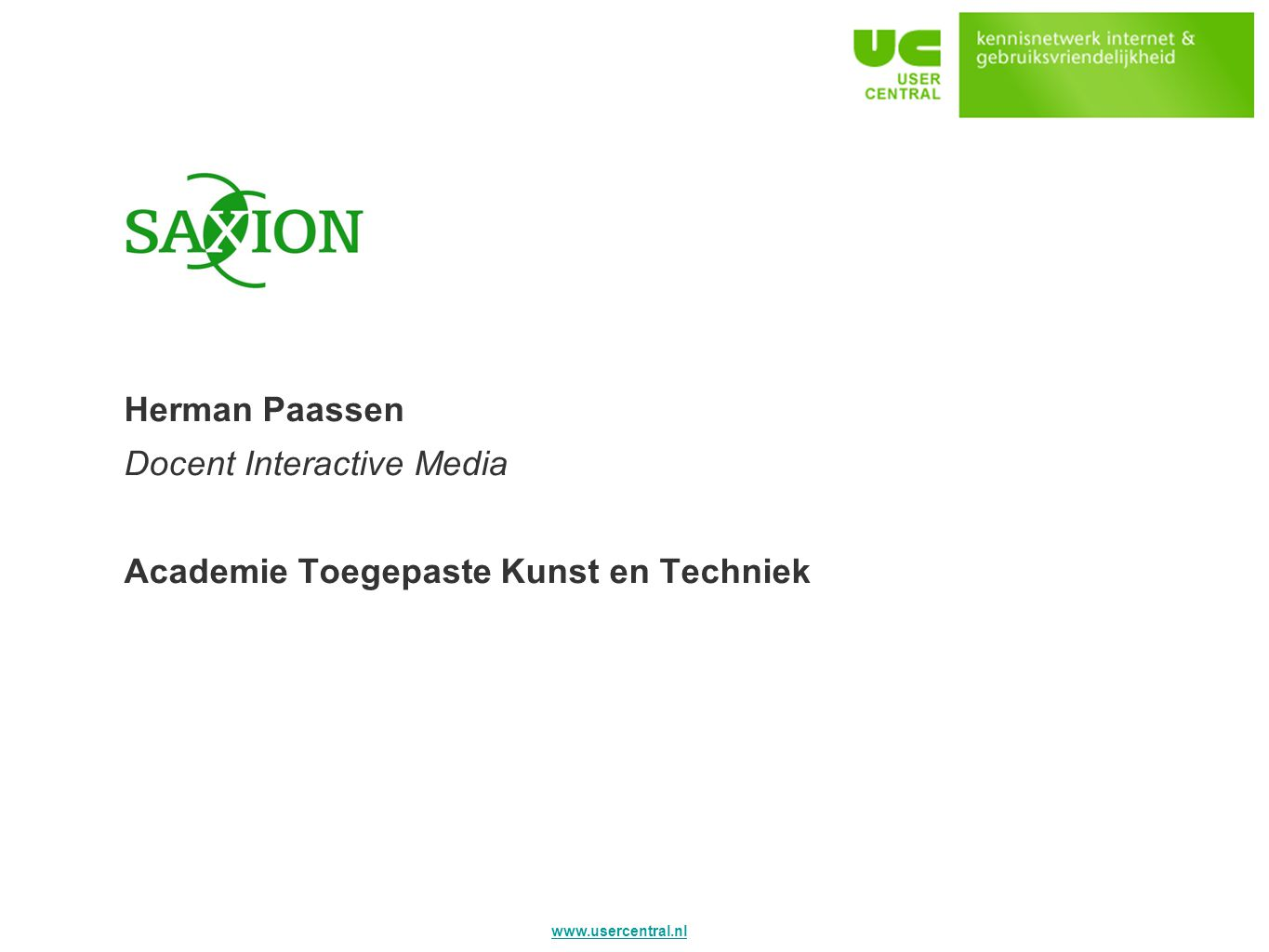 Saxion Herman Paassen Docent Interactive Media