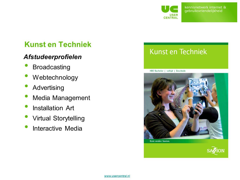 Kunst en Techniek Afstudeerprofielen Broadcasting Webtechnology