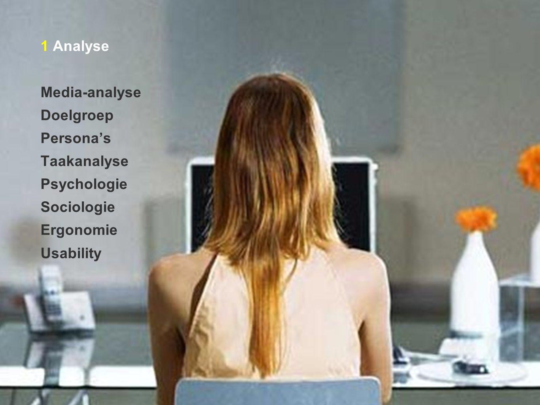 1 Analyse Media-analyse Doelgroep Persona's Taakanalyse Psychologie Sociologie Ergonomie Usability