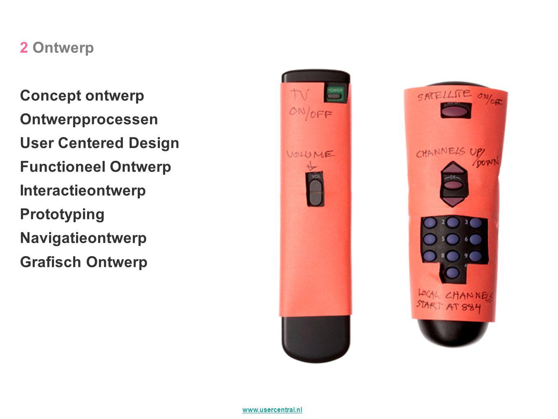 2 Ontwerp Concept ontwerp. Ontwerpprocessen. User Centered Design. Functioneel Ontwerp. Interactieontwerp.