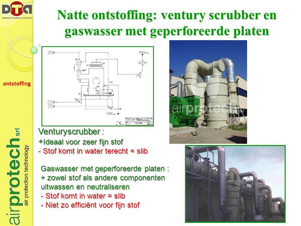 Natte ontstoffing: ventury scrubber en gaswasser met geperforeerde platen