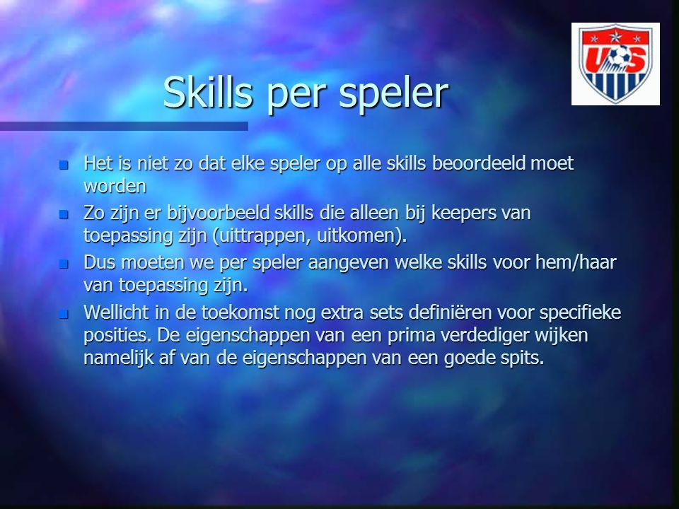 Skills per speler Het is niet zo dat elke speler op alle skills beoordeeld moet worden.