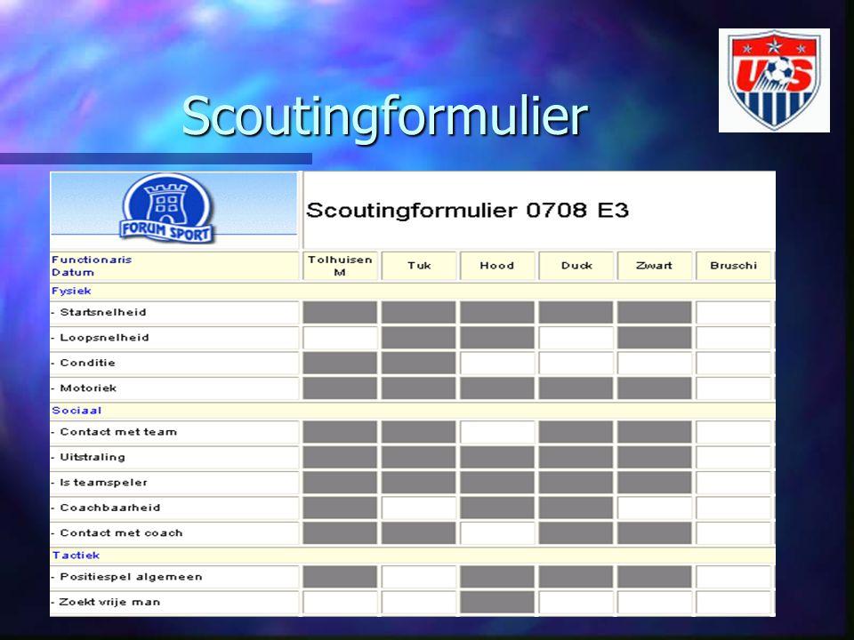 Scoutingformulier We hebben dus per spelerdossier aangegeven op welke skills er beoordeeld moet worden.