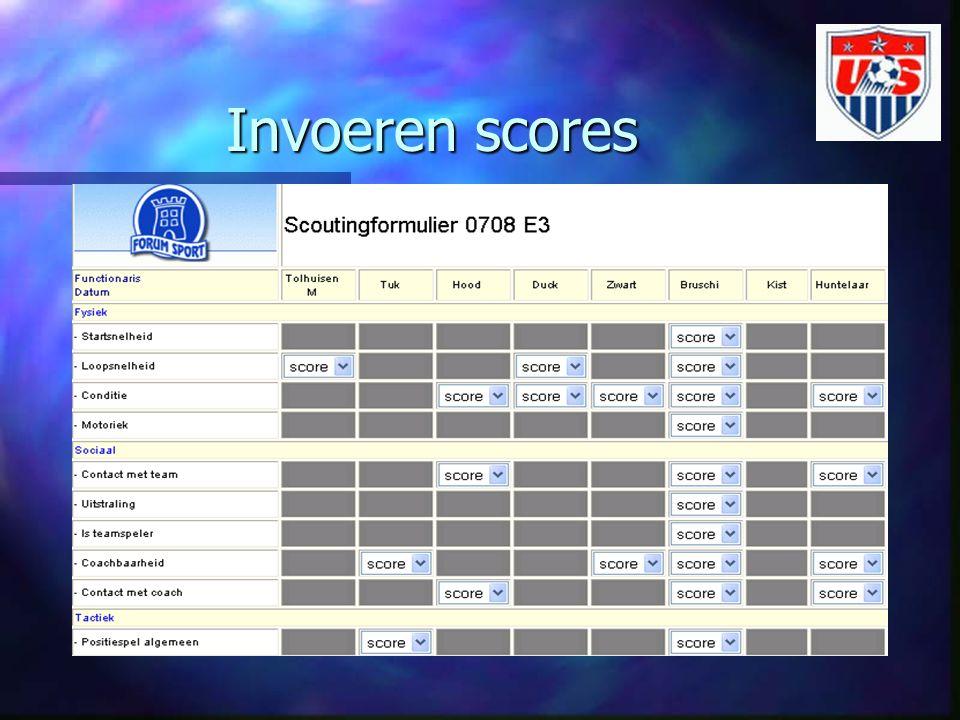 Invoeren scores Na invullen van formulier kan de scout zelf online inloggen in het OSVS en de scores invoeren.