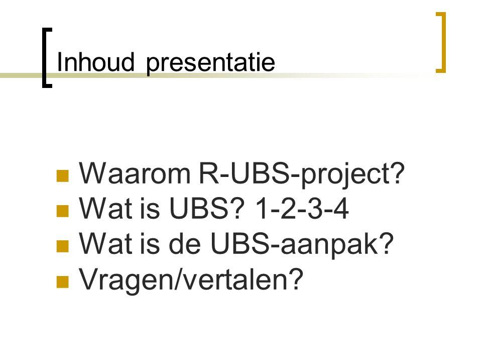 Waarom R-UBS-project Wat is UBS 1-2-3-4 Wat is de UBS-aanpak