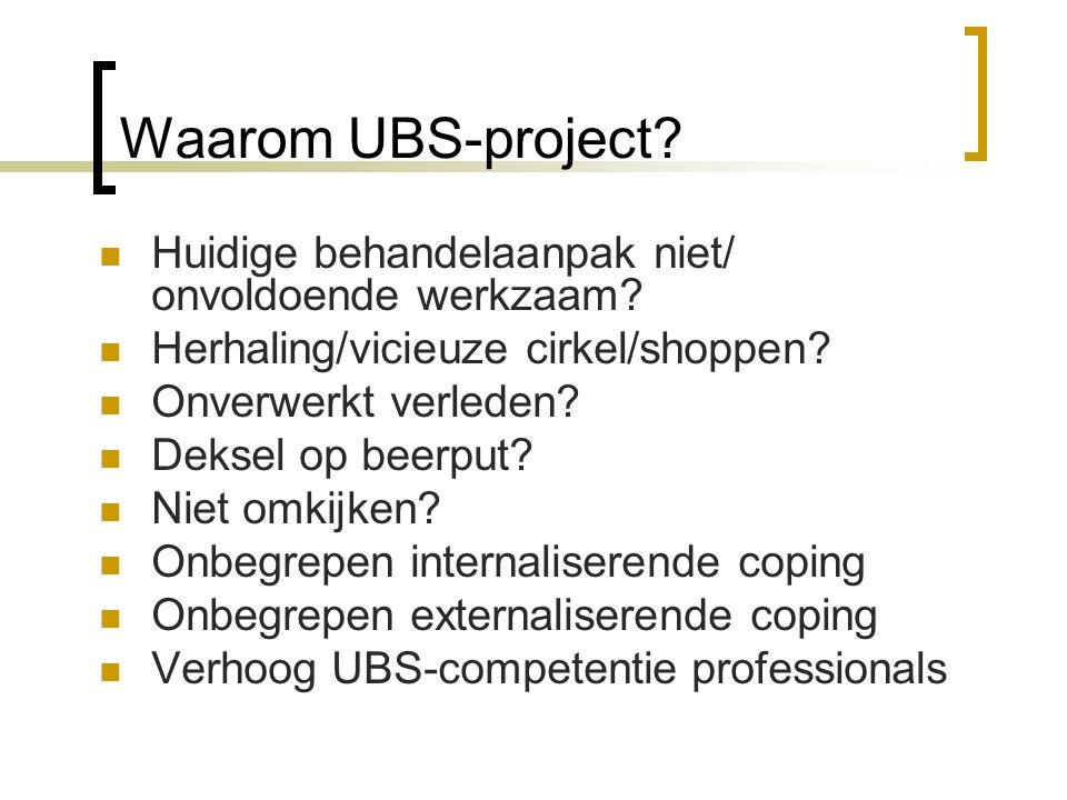 Waarom UBS-project Huidige behandelaanpak niet/ onvoldoende werkzaam