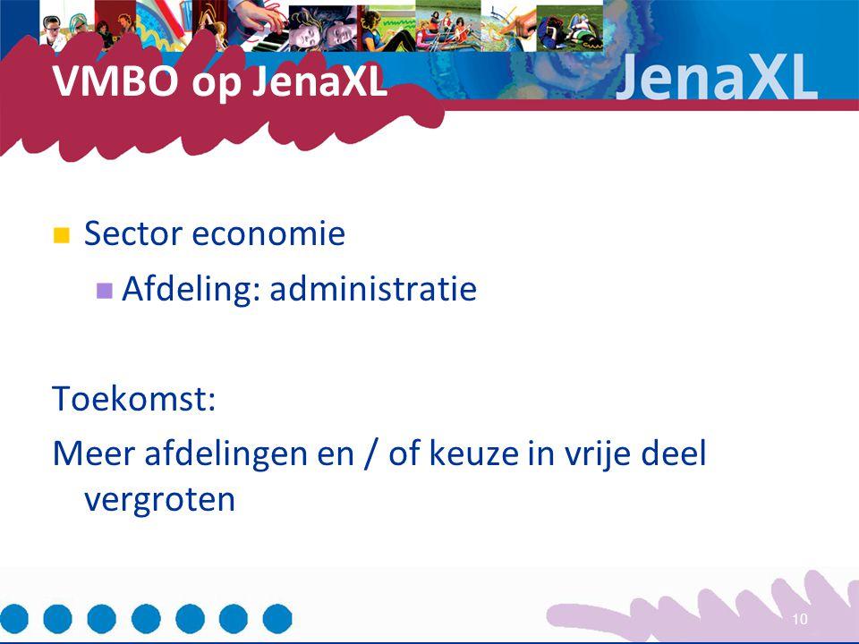 VMBO op JenaXL Sector economie Afdeling: administratie Toekomst:
