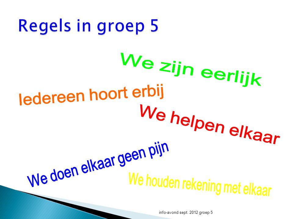 Regels in groep 5 We zijn eerlijk Iedereen hoort erbij