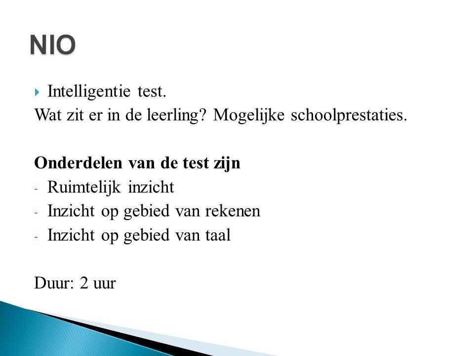 NIO Intelligentie test.