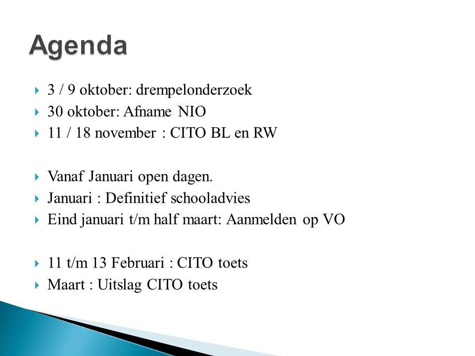 Agenda 3 / 9 oktober: drempelonderzoek 30 oktober: Afname NIO