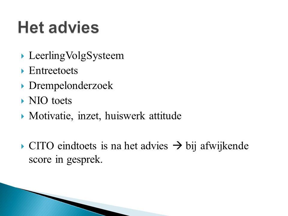 Het advies LeerlingVolgSysteem Entreetoets Drempelonderzoek NIO toets