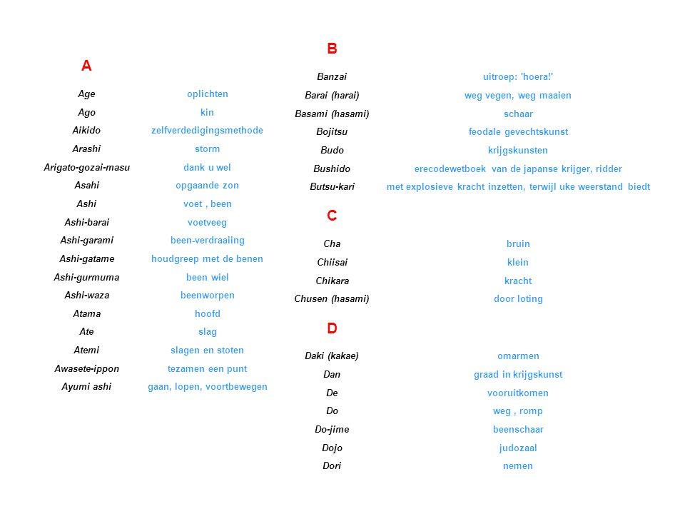 B A C D Japanse namen lijst Banzai uitroep: hoera! Barai (harai)