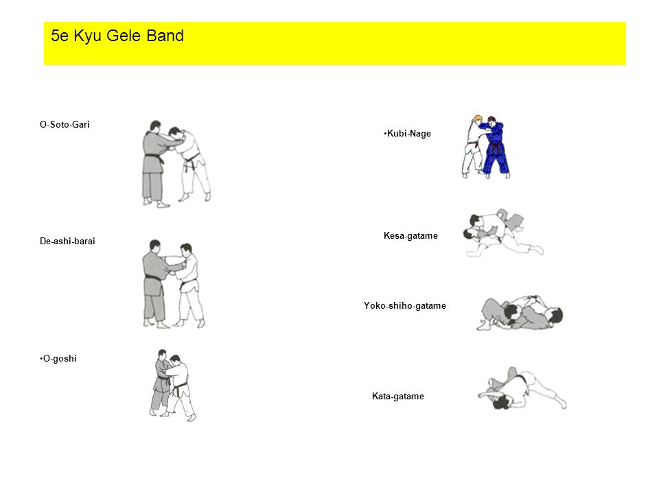 5e Kyu Gele Band O-Soto-Gari Kubi-Nage Kesa-gatame De-ashi-barai