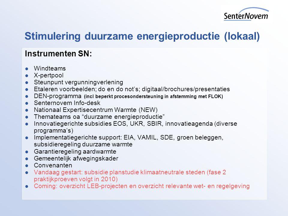 Stimulering duurzame energieproductie (lokaal)