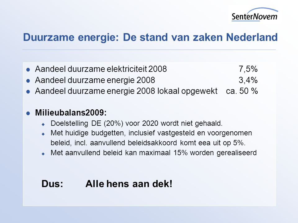 Duurzame energie: De stand van zaken Nederland