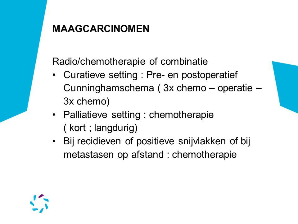 MAAGCARCINOMEN Radio/chemotherapie of combinatie. Curatieve setting : Pre- en postoperatief. Cunninghamschema ( 3x chemo – operatie – 3x chemo)